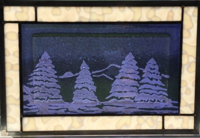 winter scene fused glass
